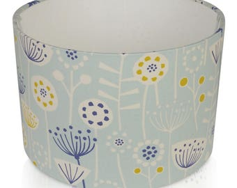 Fryetts Bergen Scandi flower seafoam Blue and Navy Cotton Print Lampshade,Ceiling Pendant,Table Lamp