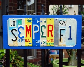 SEMPER FI, USMC Marines license plate sign