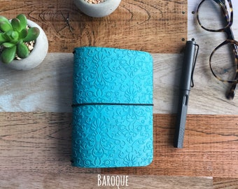 BAROQUE EMBOSSED Travelers Notebook - All Sizes - Leather Travelers Notebook - Embossed Leather Notebook - Customizable Travelers Notebook