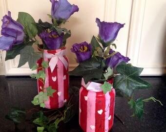 Valentines day mason jars/ valentine centerpieces/ Valentine mason jar set/Rustic Valentine jars/gift for her