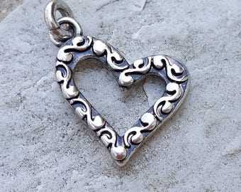 Floating heart etsy silver plated open heart charm heart pendants jewelry charm bracelet antique silver charms mozeypictures Image collections