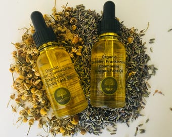 Rejuvenate Lavender, Chamomile and Frankincense Face Oil - 100% Organic Face Oil - Blended with Argan Oil and Rosehip Oil