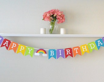 Rainbow Birthday Party Banner - Rainbow Birthday Party Decorations - First Birthday Party Banner Rainbow - Girls 1st Birthday
