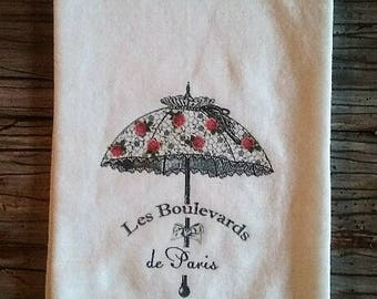 Paris Umbrella Flour Sack Towel