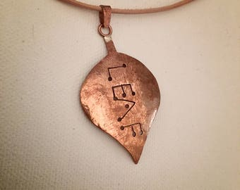 Handmade self-proclaiming copper leaf pendant