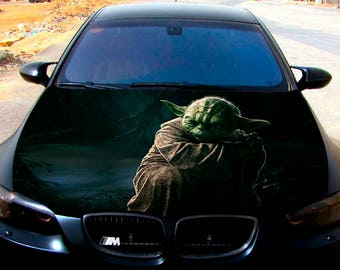 Vinyl Car Hood Full Color Wrap Graphics Decal Master Yoda Star Wars Sticker