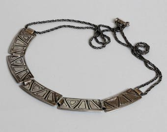 Modernist Triangles of the Neck silver Link Necklace Vintage Jewelry