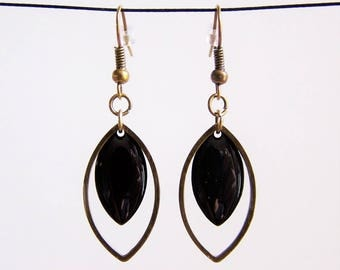 Brass ring and sequin black enamel earrings
