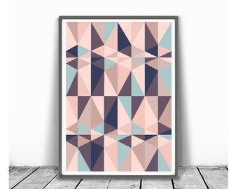 Geometric Print, pink blue Art, Triangle Print, Printable Art, Geometric Proster, light pink and turquoise, Abstract Wall  Triangle Print