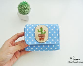 Cactus Lovers-Blue Ladies Coin Purse - Rustic Scheme, Vegan Coin Wallet, Change Purse, Small Wallet, Card Pouch, Cash Wallet, Gift for Her