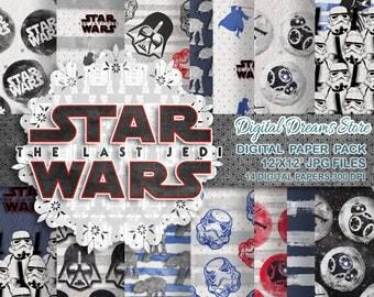 "Star Wars paper: ""STAR WARS DREAMS"" digital paper patterns, Scrapbooking paper, Star Wars instant, Seamless pattern"
