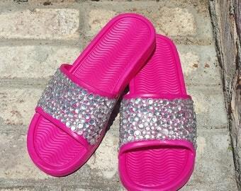 Pink Bling Slides - Slides with rhinestones - Embellished women sandals - Custom bedazzled slides - girl gift ideas - Bling slides