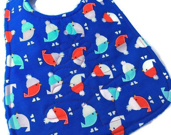 Christmas Baby Boy Bib with Little Birds, Quilted Bibs for Christmas, Birds Wearing Hats, Quiltsy Handmade, QQQ Team