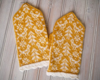 Birds and Trees Latvian Style Mittens for Women in Yellow