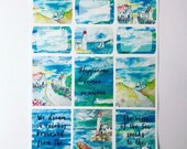 Sea View - Planner/Journal stickers (Full and half boxes)