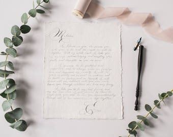 Custom Calligraphy Vows and Love Letters