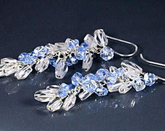 Prince Cut Topaz with Sky Blue Kyanite Cluster Earrings, Long Cluster Earrings