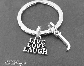 Live Love Laugh KeyRing, Live Love Laugh KeyChain, Motivational Key ring, Quote Key Chain, Personalised Key chain, Personalised Jewellery,