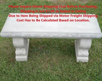 Cement Bench, Please Read About Shipping, Straight Patio Bench, Concrete  Bench Set,