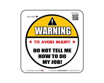 "WARNING To Avoid Injury V2 (3 Pack) size: 2"" Full Color Printed Vinyl Decal Hard Hat Helmet Window Sticker"