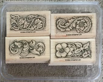 "Retired Stampin' Up rubber stamp set  ""Sculpted Style"""
