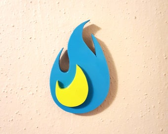 Cyan/Lime Small Round Flame Wooden Fire Art Cutout