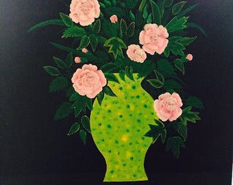 Flowers in vase. Acrylic on canvas. 61 cm x 61 cm