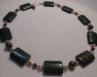 Green Jasper, Pyrite and Bronze necklace