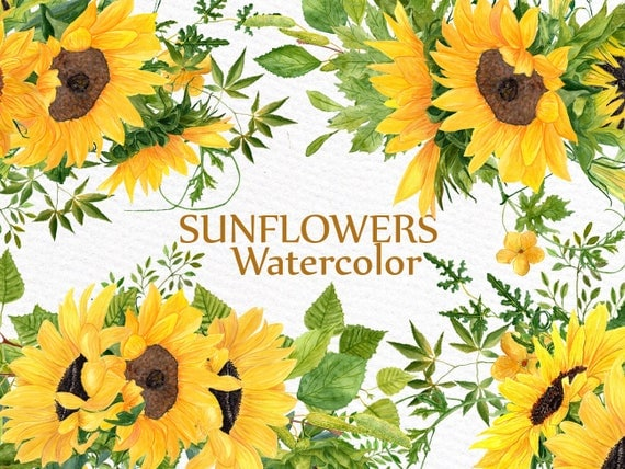Sunflower Clipart Watercolor Wreath SUNFLOWER BOUQUETS Wedding Floral Wreaths Yellow Flowers Illustration DIY