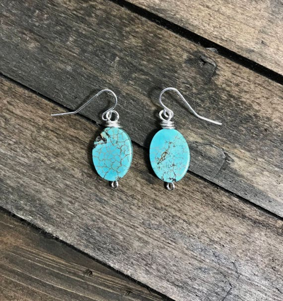 Turquoise oval wire wrapped dangle earrings-silver filled wire