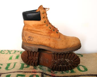 Timberland Boots – 90's Made in USA – Tan Wheat Nubuck Genuine Vintage Original - Size, US M 9.5 usL 11 EU 43 Work Boots