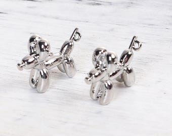 Silver Balloon Dog Charm - Clip On - Ready to Wear