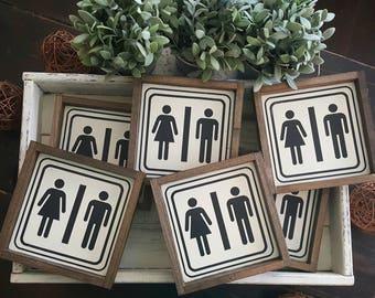 Farmhouse style- Rustic Bathroom Framed sign. Bathroom-.Farmhouse decor. Rustic decor. woodsigns.