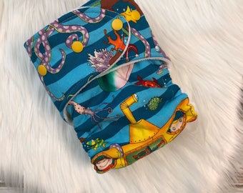 Yellow submarine Ocean Hybrid Fitted Cloth diaper organic zorb one size OS FDR