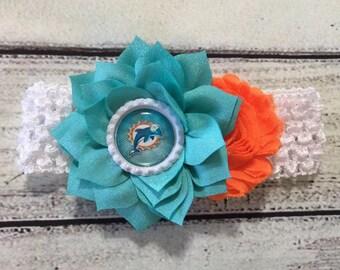 Miami Dolphins Baby Headband Baby Headband Football Baby Headband Newborn Headband Miami Dolphins Headband Football Headband
