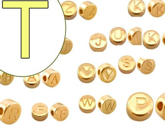 alphabet bead  T 7mm gold plated #3856