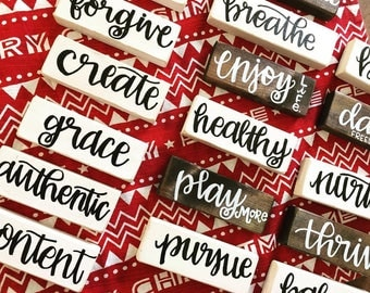 One Little Word - Word for the Year - Word of the Year - Shelf Sign - Shelf Sitter - Hand Lettered - Wood Signs - Block Sign - Shelf Decor