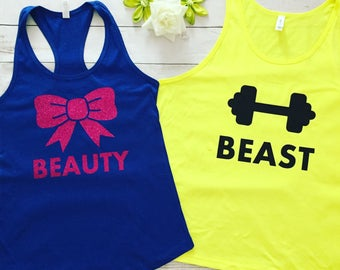 Beauty and Beast workout top tanks, Made to order Beauty and Beast tops