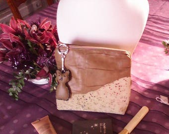 vintage clutch makeup in leather taupe and split leather