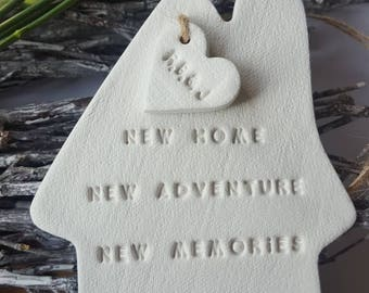 House Warming Gift ~ New Home Gift ~ House Ornament ~ First Christmas in New Home ~ Clay Home Gift