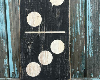 Family Domino painted wood sign, family number sign, domino
