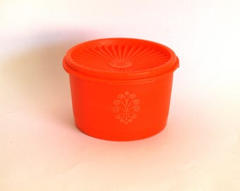 Orange Tupperware Container with White Stylised Flower Swirl - Tupperware Canister - Made in Australia