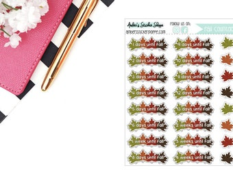 Fall Countdown with Autumn Leaves Stickers for any Planner
