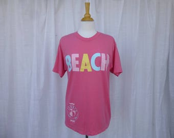 Vintage 80s Summer 1987 Beach Cotton Unisex T-Shirt M/L Pink Stretchy Laughing-Stock Graphic Print Hanes Preppy Hipster Resort USA Glam Garb