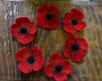 Felted Poppy Brooches