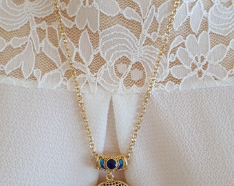 Necklace and pendant with enameled brass flowers