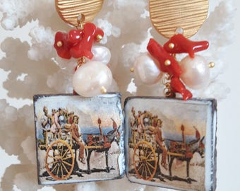 Caltagirone pottery earrings, pearls, coral and brass