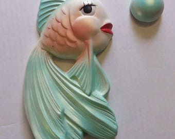 Miller Studio 1964 MCM Tropical Fish & Bubble Wall Plaque Anthropomorphic Kitsch