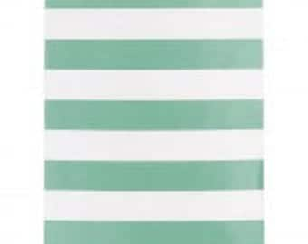 "Mint Treat Bags// Stripe Paper Bags// 5"" x 7"""