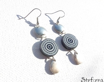 """Gray"" original earrings polymer clay and silver charms"
